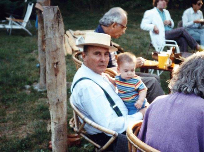 Hanze Werner Henze holding Meron, at Tanglewood 1988
